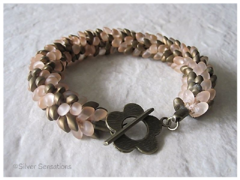 Pastel Peach & Antique Bronze Colour Beaded & Woven Petals Seed Bead Kumihimo Bracelet